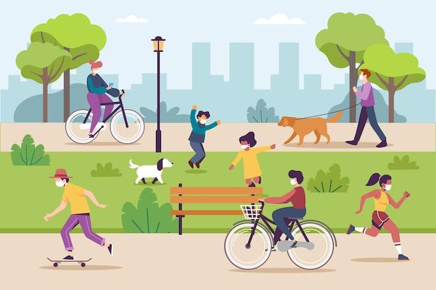 Handgezeichnete leute, die outdoor-aktivitäten machen