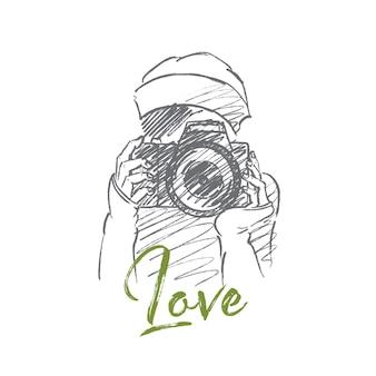 Handgezeichnete liebesfoto-konzeptskizze