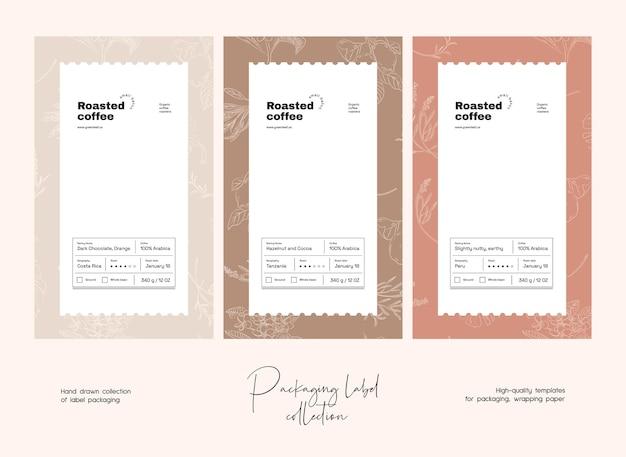 Handgezeichnete linie kunst vektor lebensmitteletikett verpackung design vorlage