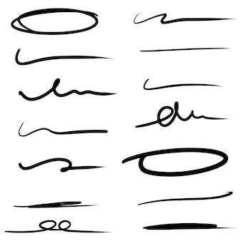 Handgezeichnete linie zum markieren von text und kreismarkierungssatz isoliert auf weißem hintergrund. vektor-illustration.
