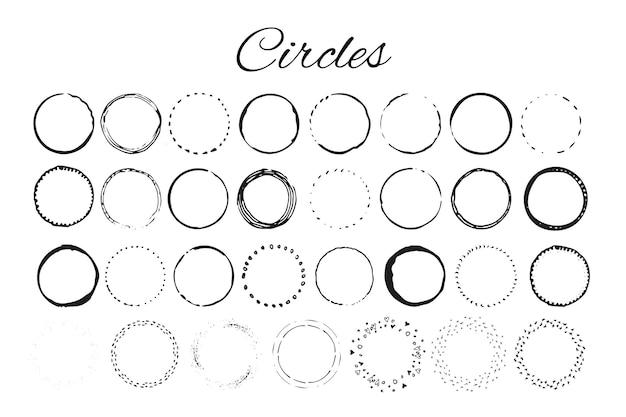 Handgezeichnete logoelemente mit kreisen. entwerfen sie ihr eigenes perfektes logo. vorlagen für logos. logo-design auf hintergrund isoliert und einfach zu bedienen. vektor-illustration