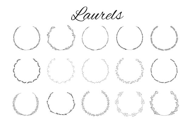 Handgezeichnete logoelemente mit lorbeeren. entwerfen sie ihr eigenes perfektes logo. vorlagen für logos. logo-design auf hintergrund isoliert und einfach zu bedienen. vektor-illustration