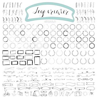 Handgezeichnete logoelemente mit pfeilen, bändern, lorbeeren, abzeichen, quadraten, kreisen