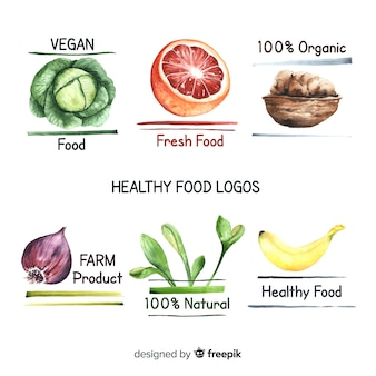 Handgezeichnete logos für bio-lebensmittel