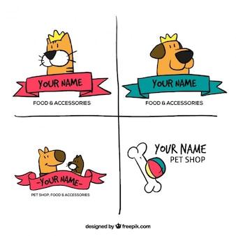 Handgezeichnete logos für ein haustier-shop