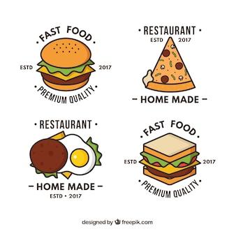 Handgezeichnete logos für fast-food-restaurants