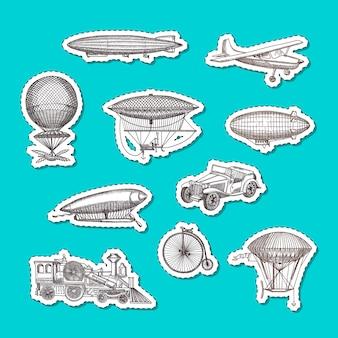 Handgezeichnete luftschiffe, fahrräder und autos