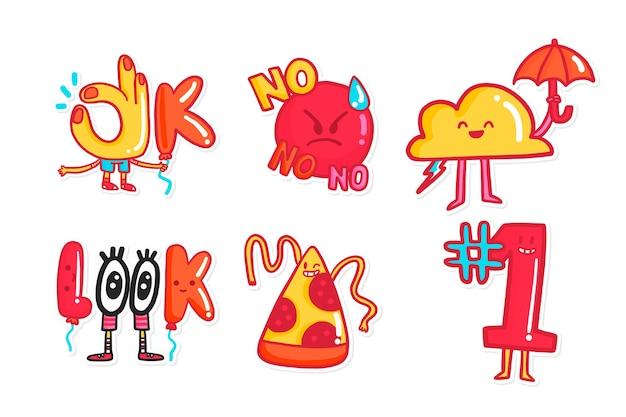 Handgezeichnete lustige aufkleber sammlung