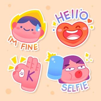 Handgezeichnete lustige sticker pack