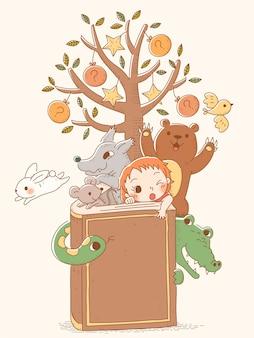 Handgezeichnete märchenfiguren kamen aus buch, tieren und kleinen mädchen heraus