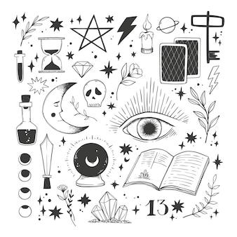 Handgezeichnete magische illustrationen. sammlung mit esoterischen mystischen elementen. hexerei