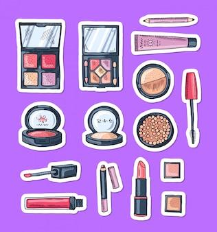 Handgezeichnete make-up element aufkleber