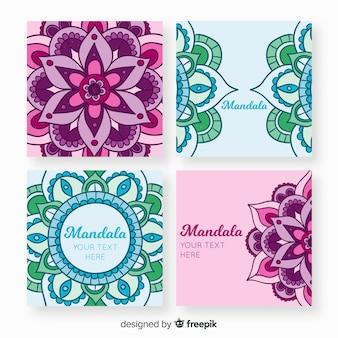 Handgezeichnete mandala-kartensammlung