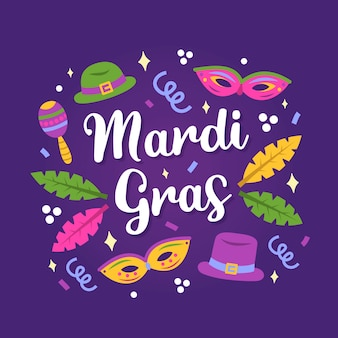 Handgezeichnete mardi gras schriftzug