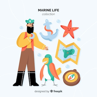 Handgezeichnete marine character pack