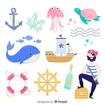 Handgezeichnete marine zeichen sammlung
