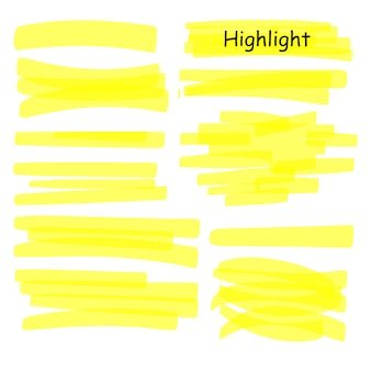 Handgezeichnete markierungslinien gesetzt. gelbe striche des textmarkers lokalisiert auf weißem hintergrund. textmarker-zeichnungsentwurfsillustration.