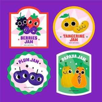 Handgezeichnete marmelade-abzeichen-set