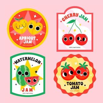 Handgezeichnete marmeladenetiketten-set