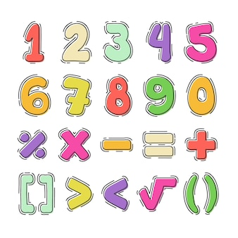 Handgezeichnete mathematische symbole Kostenlosen Vektoren