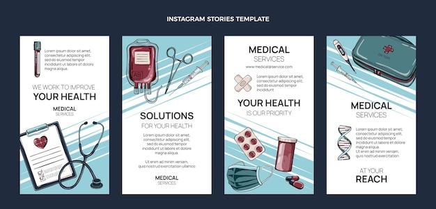 Handgezeichnete medizinische instagram-geschichten