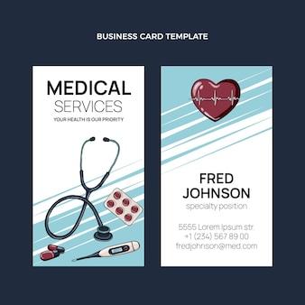 Handgezeichnete medizinische visitenkarte vertikal