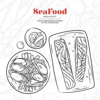 Handgezeichnete meeresfrüchte elemente