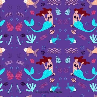 Handgezeichnete meerjungfrau muster