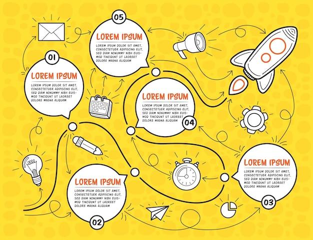 Handgezeichnete mehrzweck-infografik-vorlage mit rakete. fünf schritte mit textfeldern können für die zeitleiste auf gelbem hintergrund verwendet werden. vektor-illustration.