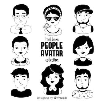 Handgezeichnete menschen avatar pack