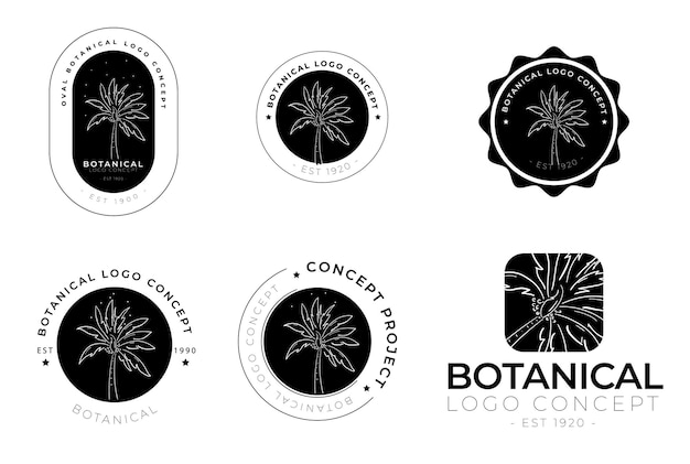 Handgezeichnete minimale florale botanische runde etikett- und logo-kollektion