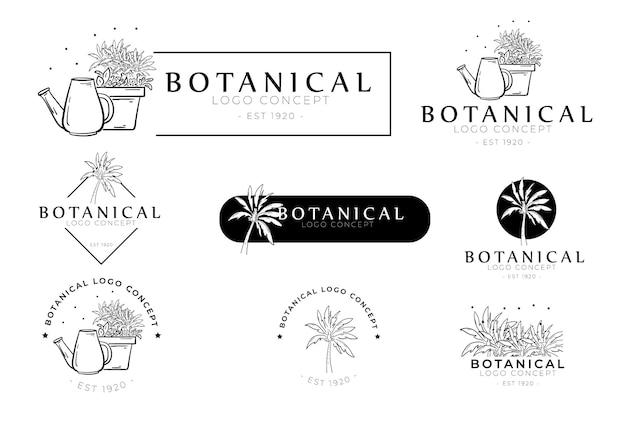 Handgezeichnete minimale florale botanische rundetiketten- und logosammlung