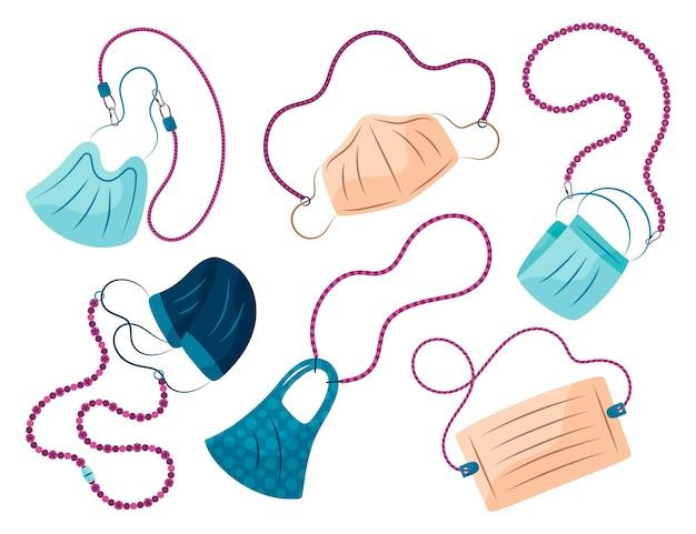 Handgezeichnete mode gesichtsmaske lanyard kollektion