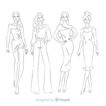 Handgezeichnete mode skizzensammlung