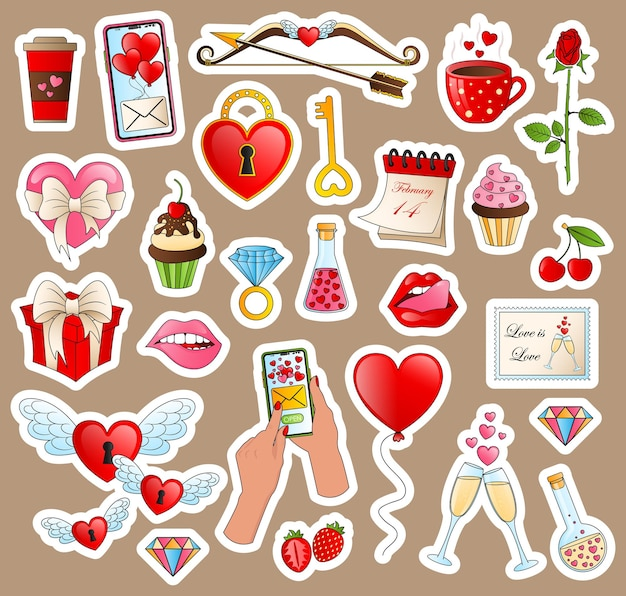 Handgezeichnete modeelemente für hochzeit, valentinstag. liebesillustrationen für soziales netzwerk, webdesign, mobile nachrichten, soziale medien, online-kommunikation.
