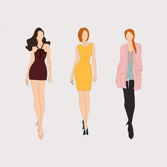 Handgezeichnete models.