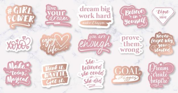 Handgezeichnete motivierende weibliche zitate und slogans