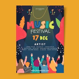 Handgezeichnete musik festival poster