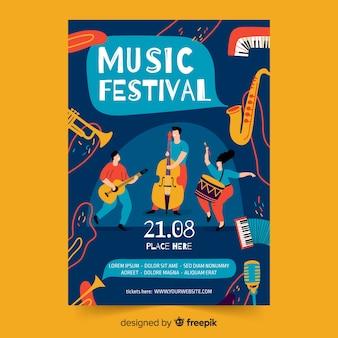 Handgezeichnete musik plakat vorlage
