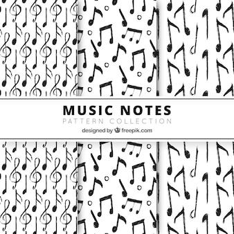 Handgezeichnete musikalische notizen muster