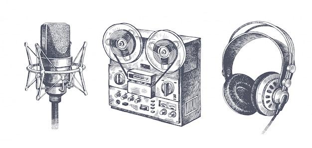 Handgezeichnete musikausrüstung