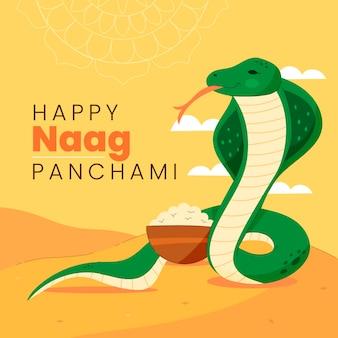Handgezeichnete nag panchami illustration