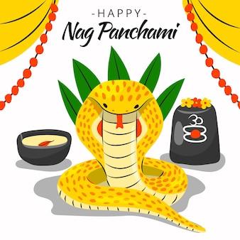 Handgezeichnete nag panchami illustrationami