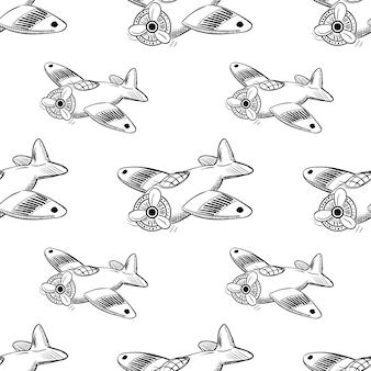 Handgezeichnete nahtlose muster flugzeug doodle-symbol. handgezeichnete schwarze skizze. zeichentrickfilm-symbol. dekorationselement. weißer hintergrund. isoliert. flaches design. vektor-illustration.