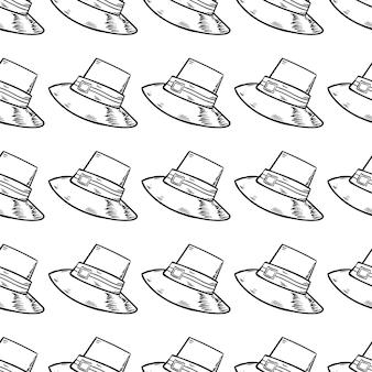 Handgezeichnete nahtlose muster hut doodle-symbol. handgezeichnete schwarze skizze. zeichentrickfilm-symbol. dekorationselement. weißer hintergrund. isoliert. flaches design. vektor-illustration.