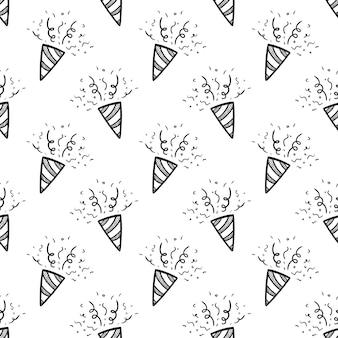 Handgezeichnete nahtlose muster petard doodle-symbol. handgezeichnete schwarze skizze. zeichen-symbol. dekorationselement. weißer hintergrund. isoliert. flaches design. vektor-illustration.