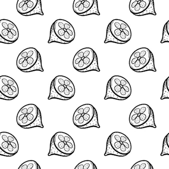 Handgezeichnete nahtlose muster zitrone doodle-symbol. handgezeichnete schwarze skizze. zeichen-symbol. dekorationselement. weißer hintergrund. isoliert. flaches design. vektor-illustration.