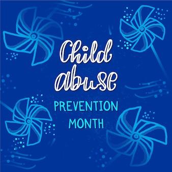 Handgezeichnete nationale abbildung des monats zur verhinderung von kindesmissbrauch