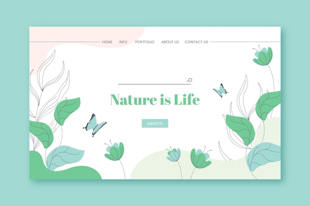Handgezeichnete natur landing page