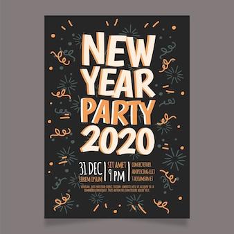 Handgezeichnete neujahr 2020 party plakat vorlage